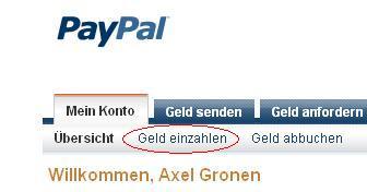 paypal geld einzahlen