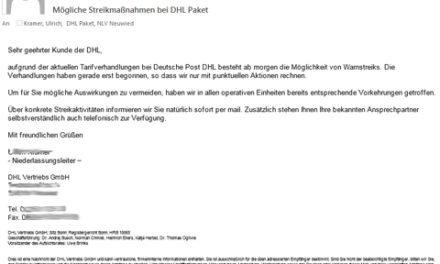 Streik: DHL warnt seine Kunden vor