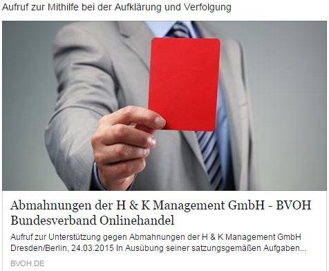 Abmahnungen: Aufruf zur Unterstuetzung gegen H & K Management