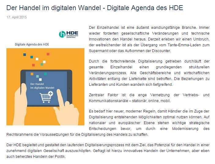 Digitaler Handel beim HDE, Deutschlands größter Handelsverband: Online können se nicht!