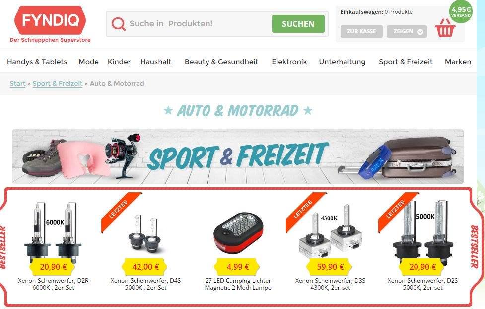Illegale Waren auf Fyndiq: Der schwedische Marktplatz bietet illegale und gefährliche Waren an