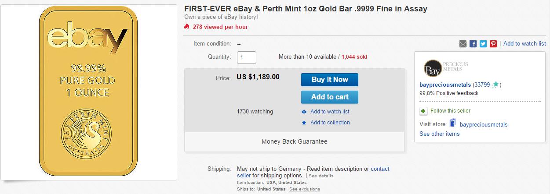 Goldhandel auf eBay: Goldene Zeiten für eBay! Handelt eBay jetzt mit Goldbarren?