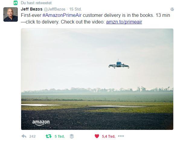 Amazon Prime Air: Die erste Drohnenlieferung ist erfolgreich!