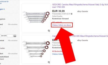 eBay-Suchergebnisse: Veränderung der Darstellung