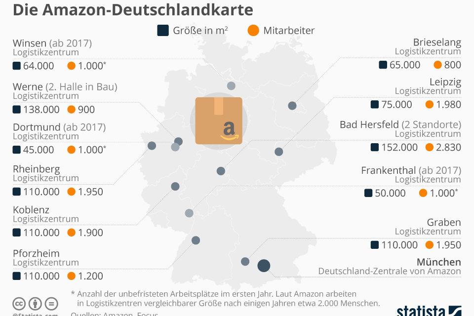 Die Amazon-Deutschlandkarte. Alle Standorte von Amazon in Deutschland.