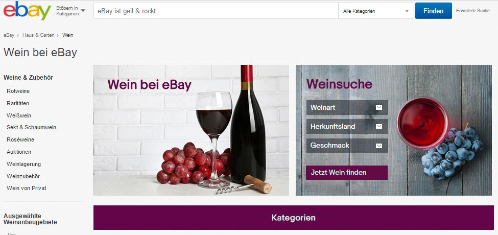 """NEWS: eBay startet neue Kategorie """"Wein"""""""