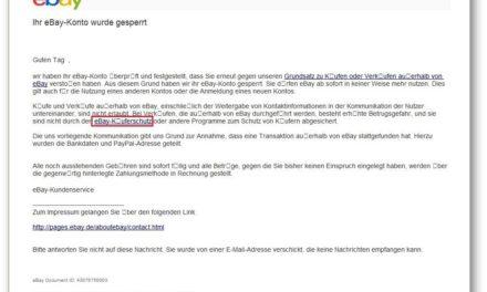 Warnung: gut gemachte eBay Phishing Mail im Umlauf
