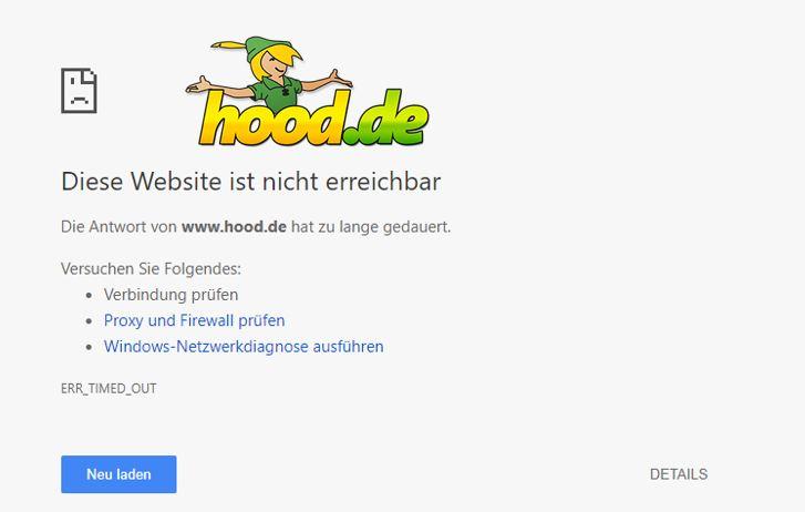 Hood.de ist wegen einer DDoS Attacke seit Stunden down