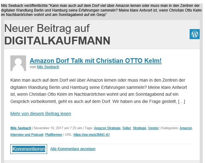 Amazon Dorf Talk: Christian Kelm mit Nils Seebach