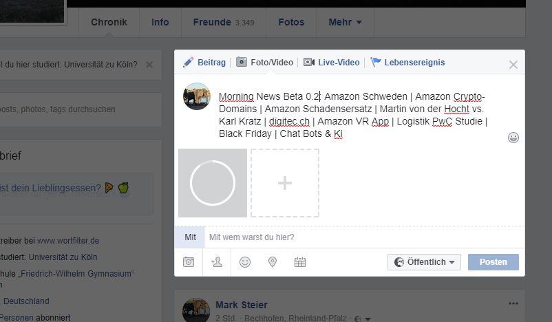 Morning News Beta 0.2: Amazon, digitec.ch, Logistik-Studie, Marke Black friday, Chat Bots