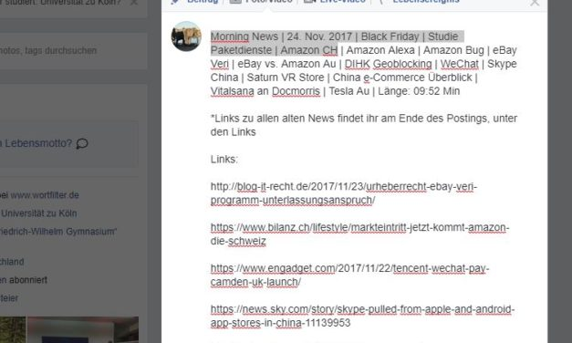 Morning News | 24. Nov. 2017 | Black Friday | Studie Paketdienste | Amazon CH …