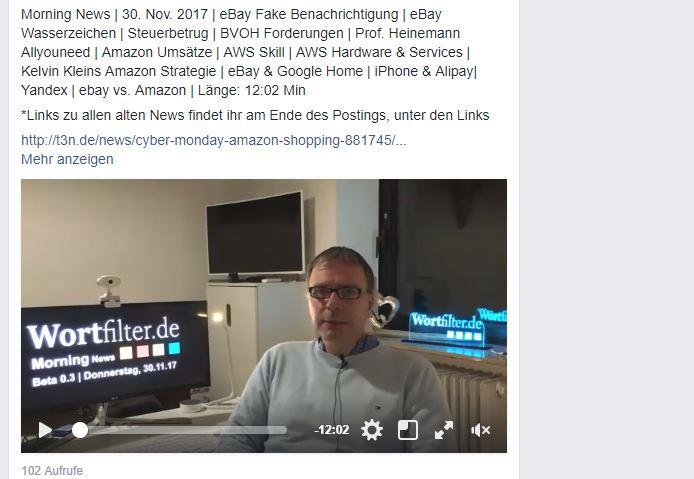 Morning News | 30. Nov. 2017 | eBay Fake Benachrichtigung | eBay Wasserzeichen