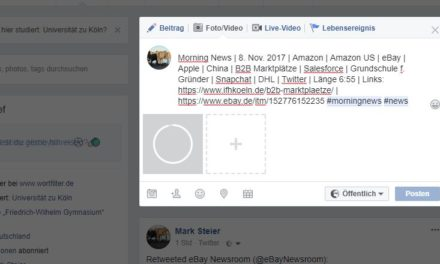 Morning News | 8. Nov. 2017 | Amazon | Amazon US | eBay | Apple | China | B2B Marktplätze | Salesforce | Grundschule f. Gründer | Snapchat | DHL | Twitter