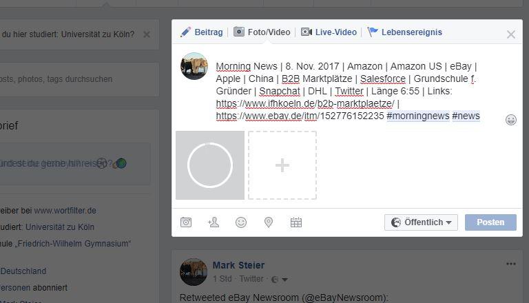 Morning News | 8. Nov. 2017 | Amazon | Amazon US | eBay | Apple | China | B2B Marktplätze | Salesforce | Grundschule f. Gründer | Snapchat | DHL | Twitter