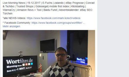 Live Morning News   19.12.2017   E-Fuchs   zalando   eBay Prognose