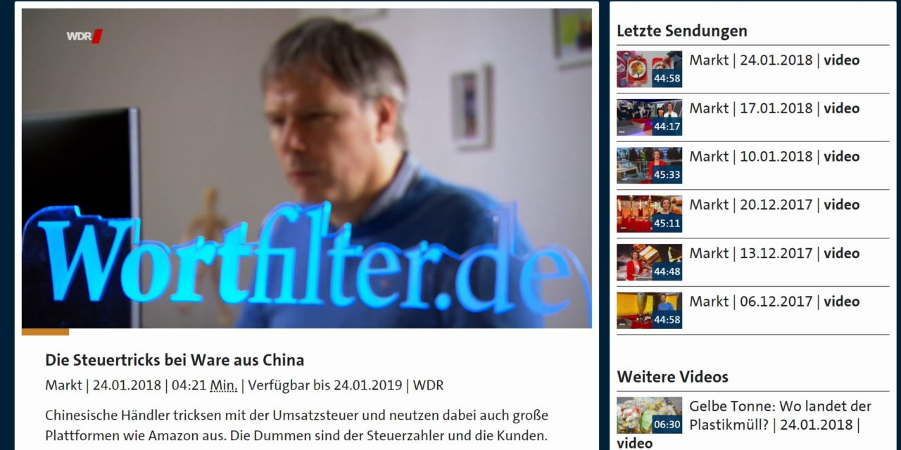 WDR Markt: Die Steuertricks bei Ware aus China – Video 4:21 Minuten