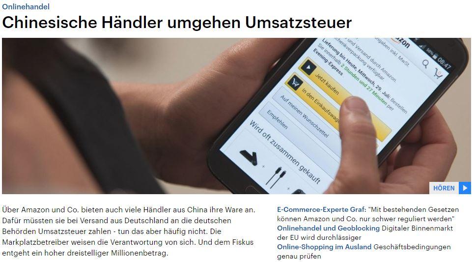 Deutschlandfunk: Chinesische Händler umgehen Umsatzsteuer