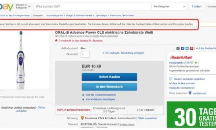 [Update] MediaMarkt auf eBay. Da ist wohl gerade keiner zu Hause