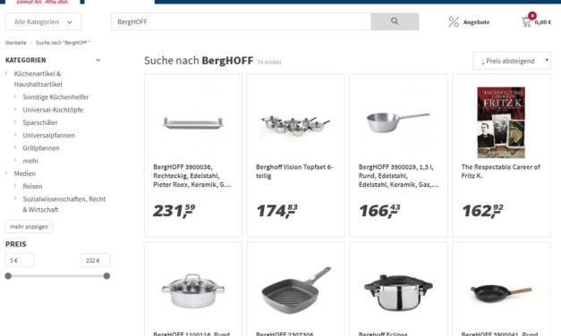 Abmahnung von BergHOFF an real.- und deren Händler