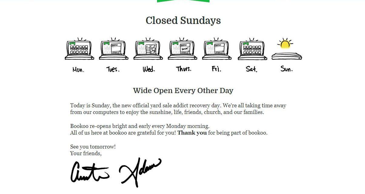 Öffnungszeiten im Internet. Es gibt sie, bei bookoo.com