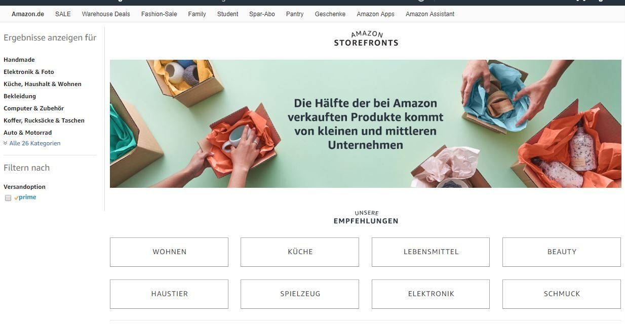 Heute startet Amazon Storefronts mit viel Tamtam