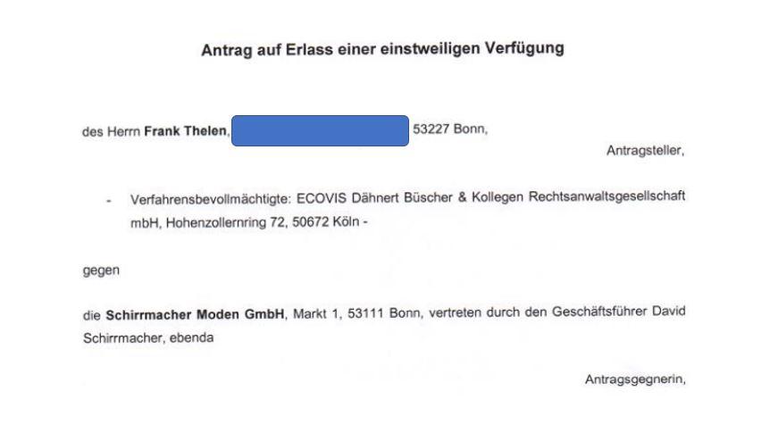 Frank Thelen vs. David Schirrmacher: Original Dokumente der beantragten einstweiligen Verfügung