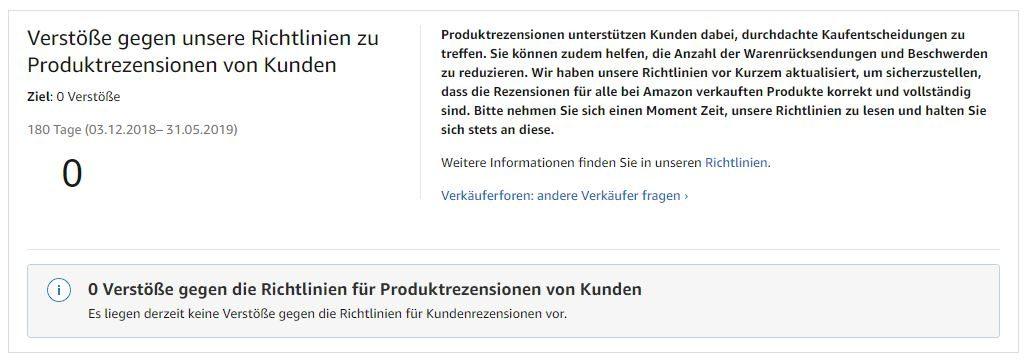 Verstöße wegen Produkt Bewertungen von Kunden