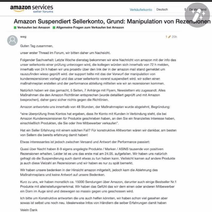 Amazon suspendiert Händler Konto wegen Manipulation von Rezensionen