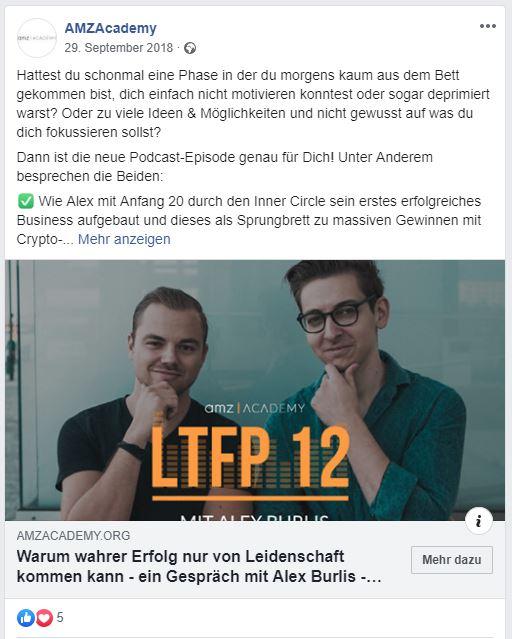 (Facebook Ad | Quelle: amzacademy.org)