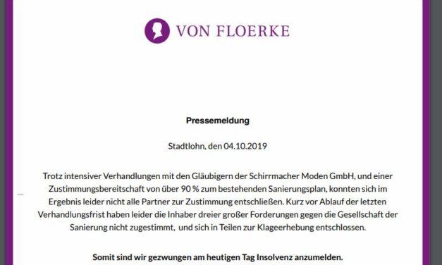 Schluss, aus und vorbei von Floerke meldet Insolvenz an. Schade!