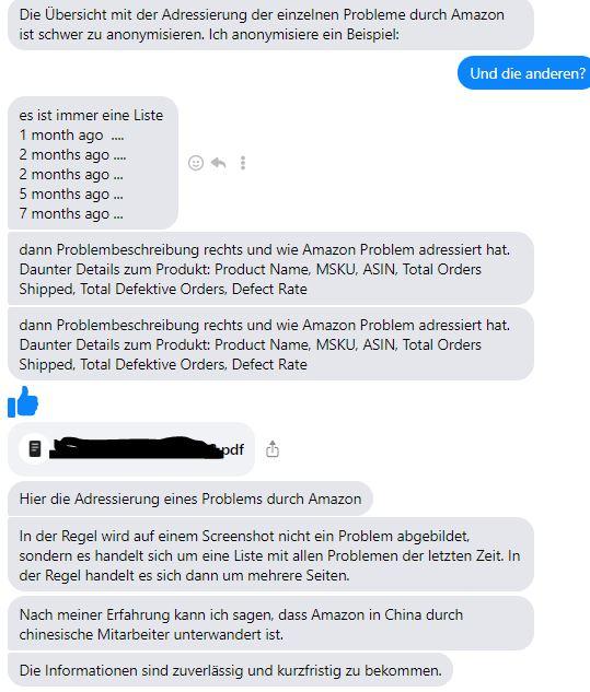Original Screenshot aus der Informanten Kommunikation