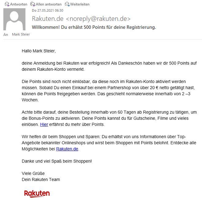 Anmeldebestätigung rakuten.de