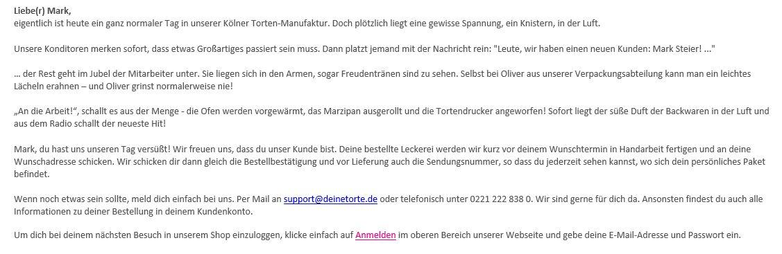 Mail von deinetorte.de